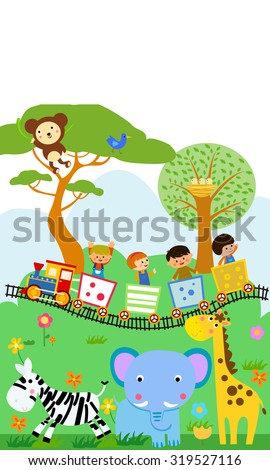 Happy kids on a colorful train with animal - stock vector
