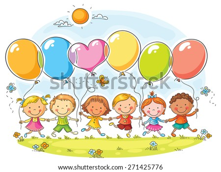 Happy kids outdoors with balloons with copy space, no gradients - stock vector