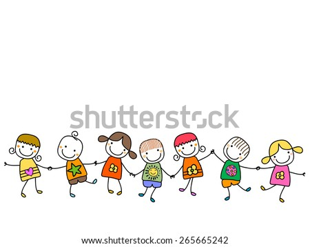 happy kids playing - stock vector