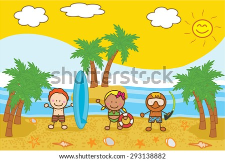 Happy kids playing and posing at Beach - stock vector