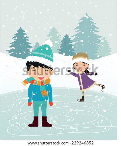 Happy kids playing. Can be used for retro christmas card. Vector illustration. - stock vector