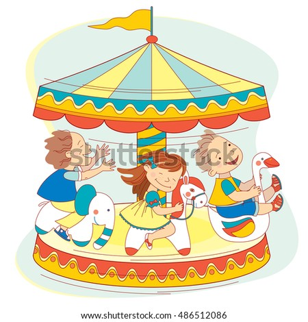 Happy kids ride on the carousel