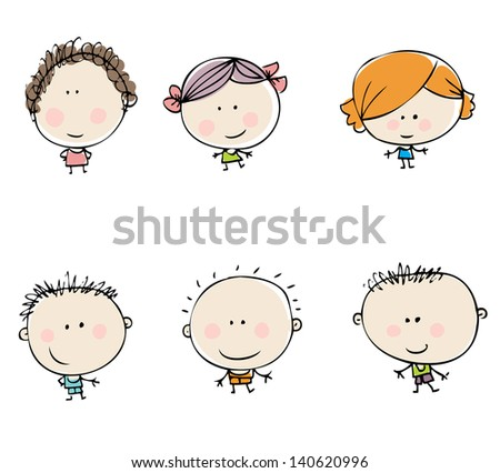 Happy kids set - stock vector