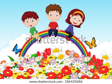 Happy kids sitting on rainbow over flower background - stock vector