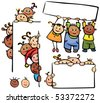 Happy kids standing by white blanks - stock vector