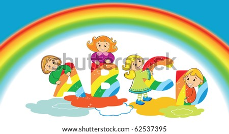 Happy kids with rainbow letter ABCD