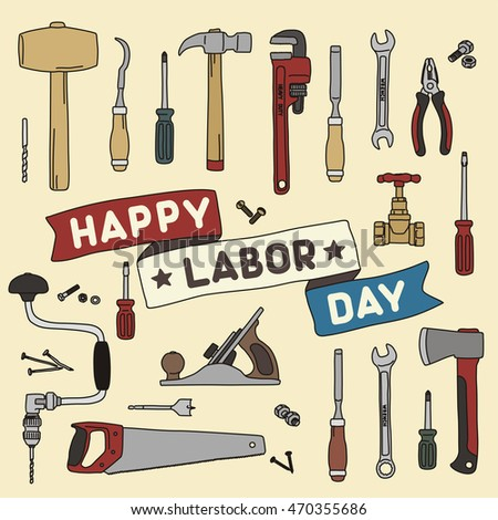 "Happy labor day! Ribbon with inscription ""happy labor day"" on background of hand tools."