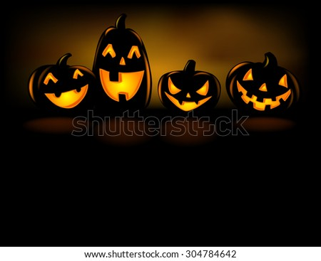 Happy laughing Halloween lanterns in the dark.  - stock vector