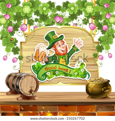 Happy Leprechaun Drinking Beer-St. Patrick's Day - stock vector