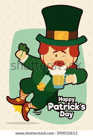 Happy leprechaun jumping with a four-leaf clovers and a cold beer tankard ready to party in St. Patrick's Day festival. - stock vector