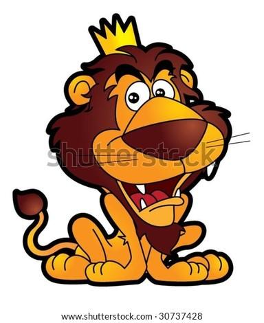happy lion king cartoon - stock vector