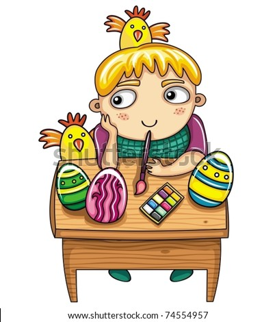 Happy little boy painting the easter eggs. Easter kids series 5 - stock vector