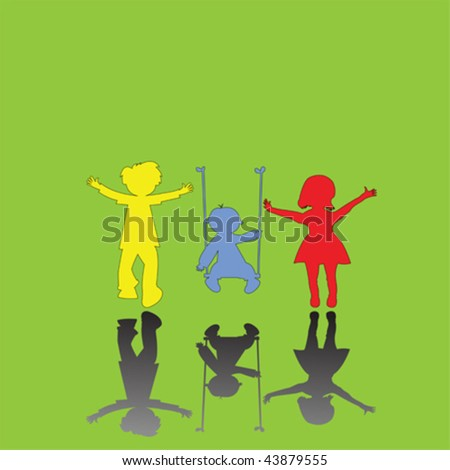 happy little children on green background, abstract art illustration - stock vector