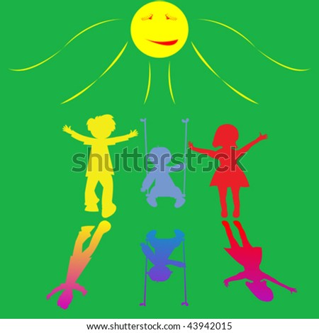 happy little children playing on sunny background, abstract art illustration - stock vector