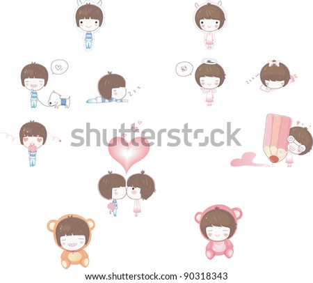 Happy Little Friends - with cute pink and blue characters - stock vector
