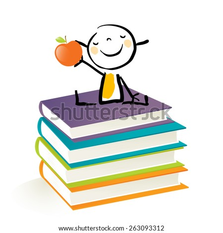 Happy little girl, sitting on a pile of books. Happy kids education doodle style vector illustration. - stock vector