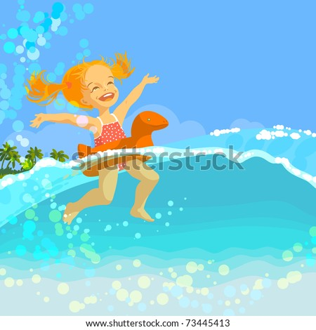 Happy little girl swim in inflatable ring in sea at sunny summer day - stock vector