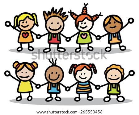 Happy Little Kids - stock vector