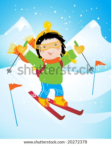 happy little skier, cartoon vector illustration