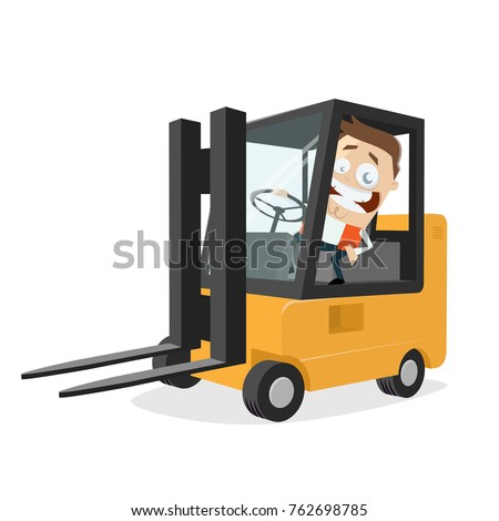 Happy Logistician Forklift Clipart Stock Vector 762698785 ...