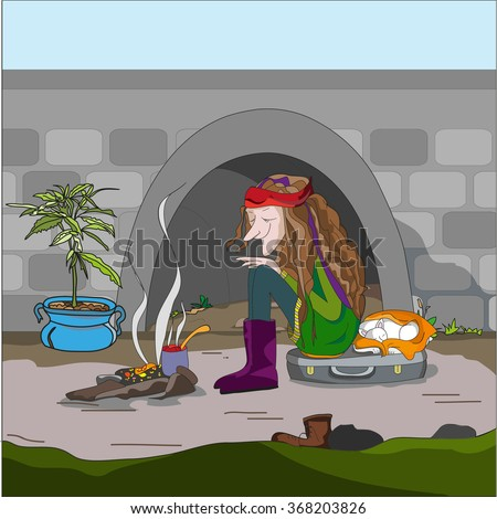 Happy loner with a dog beneath the bridge cook food. Hand drawn vector illustration for book, poster, design element.