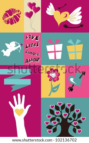Happy lovers day greeting element set background. Vector file available. - stock vector