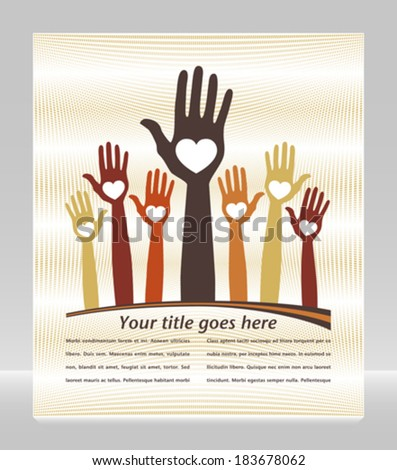Happy loving hands with copy space.  - stock vector