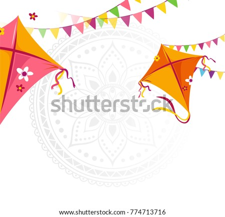 Happy Makar Sankranti holiday background with kites and bunting flags. Vector illustration
