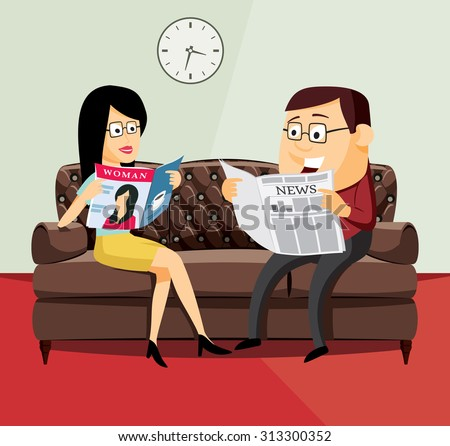 Happy man and woman reading a newspaper and magazine on the leather sofa in the living room - simple cartoon vector illustration. Husbands and their family life. - stock vector