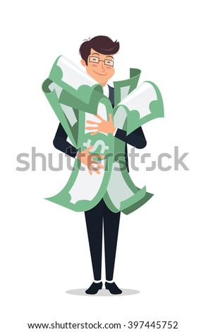 Happy man embracing pack of green money/dollars with both hand and smiling. Success and win in a lottery concept - stock vector