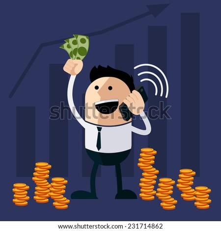 Happy man holding money and phone cartoon flat design style - stock vector