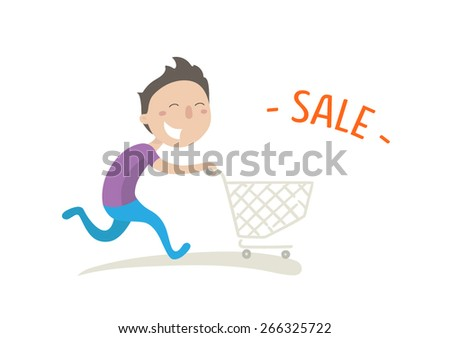 Happy man hurries shopping on sale. Vector illustration. Flat style. - stock vector