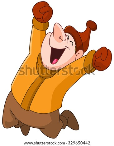 Happy man in winter clothes jumping in the air - stock vector
