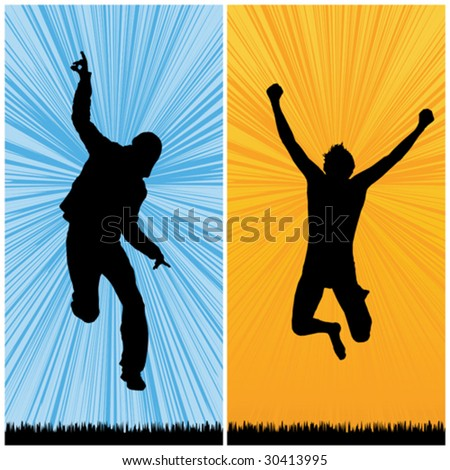 happy man jumping, vector illustration