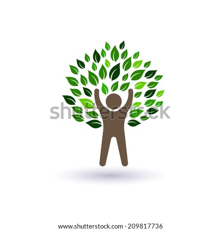 Happy Man tree image. Concept of success and natural life.Vector icon  - stock vector