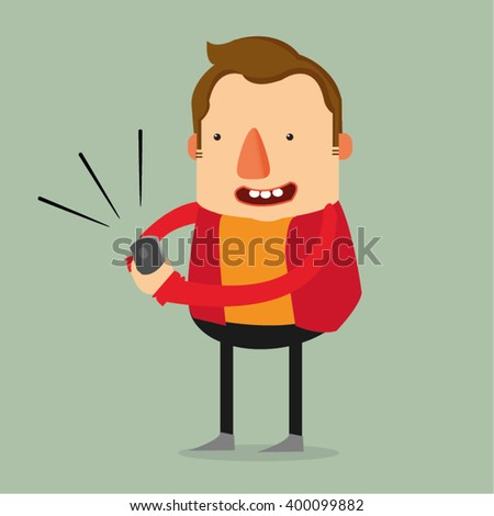 Happy man using mobile phone - stock vector