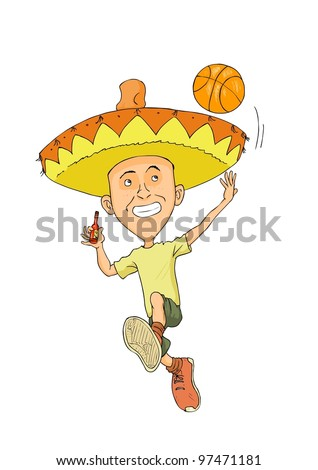 Happy man with a mexican hat and a basketball ball - stock vector