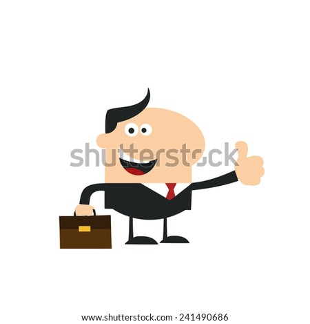 Happy Manager Giving Thumb Up.Modern Flat Design Vector Illustration Isolated on white - stock vector