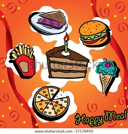 happy meal set! - stock vector
