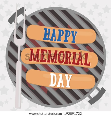 Happy Memorial Day - Hot Dog Barbecue Cookout Grill - stock vector
