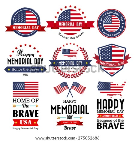 Happy Memorial Day vector greeting card ,badge and labels .Illustrator eps10 - stock vector