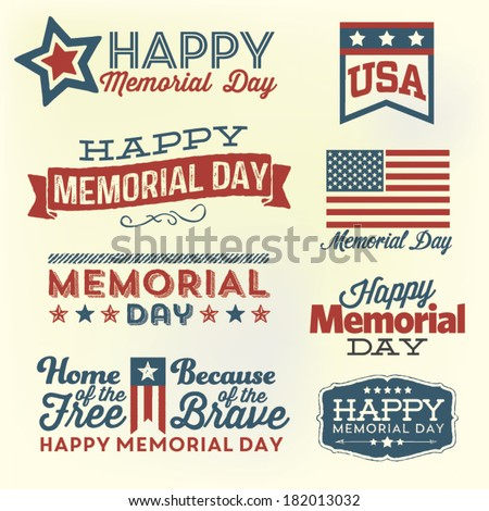 Happy Memorial Day Vector Set | Patriotic American Flag and Ribbon Vector Set | Home of the Free  - stock vector