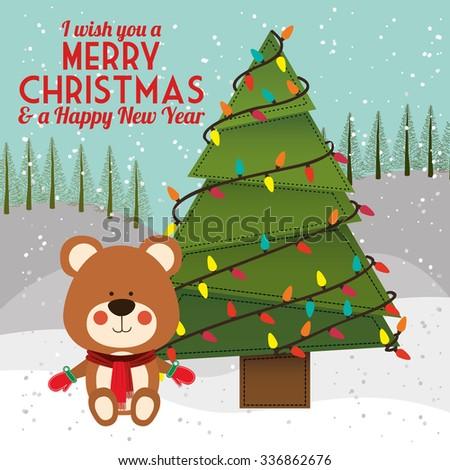 happy merry christmas design, vector illustration eps10 graphic  - stock vector