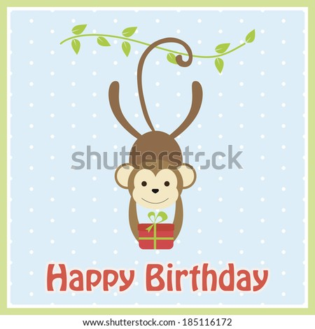happy monkey birthday card