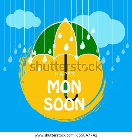 Happy Monsoon, Umbrella background, Rainy Season, Vector Illustration.