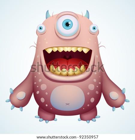 Happy Monster - stock vector