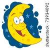 Happy Moon Mascot Cartoon Character In The Sky - stock vector
