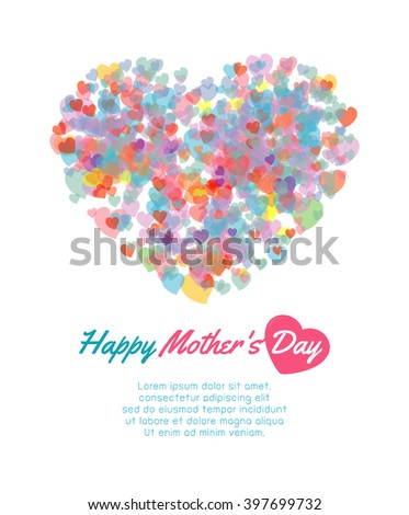 Happy mother day background with heart, Card of Happy Mothers Day. happy mothers day card vector illustration - stock vector
