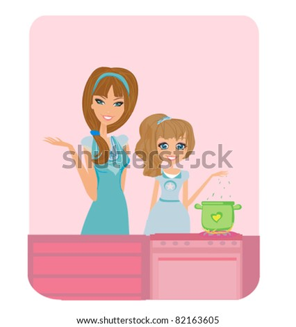 Happy mother helping her daughter cooking in the kitchen - stock vector