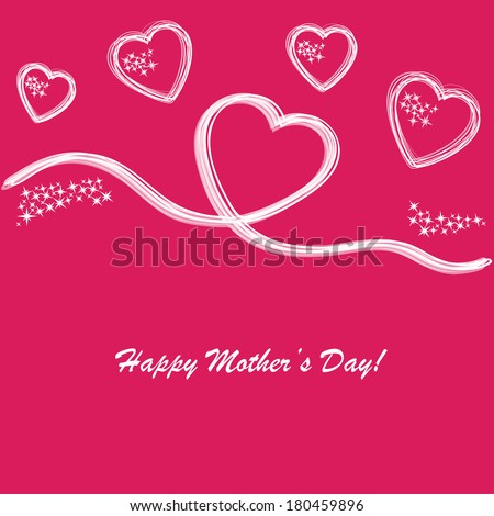 Happy mother's day background with hearts on the pink phone